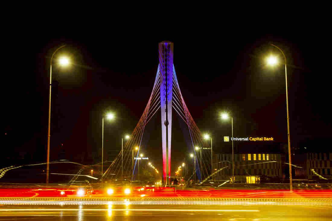 The Podgorica's Millennium bridge in Podgorica, Montenegro.