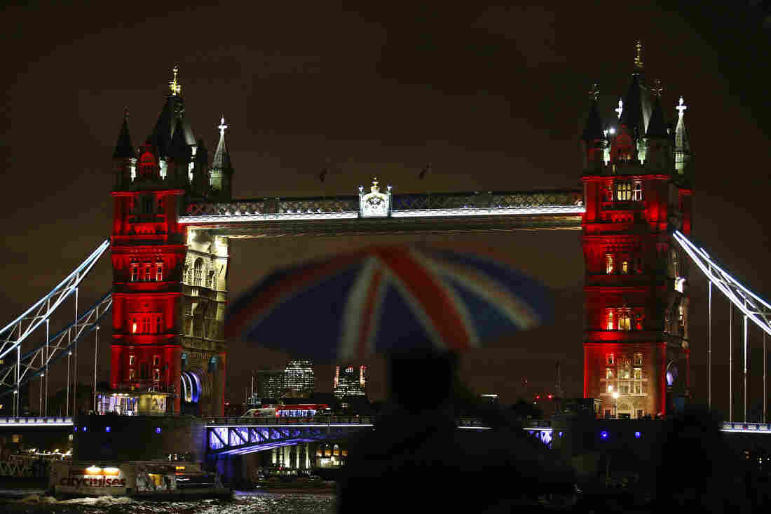 The Tower Bridge, London, England, was lit up in a succession of blue, white and red on Saturday night.