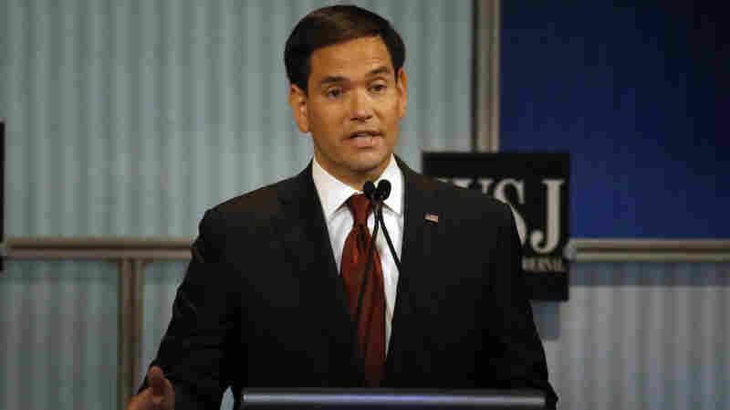 Sen. Marco Rubio, R-Fla., speaks during Republican presidential debate at the Milwaukee Theatre in Milwaukee on Nov. 10.