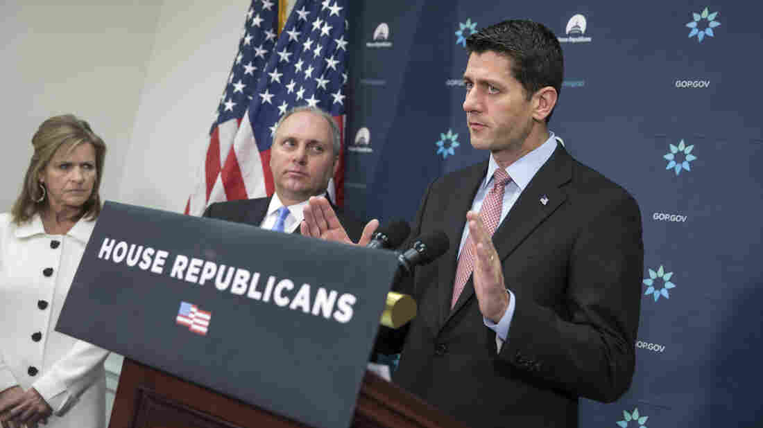 House Speaker Paul Ryan speaks on Capitol Hill on Tuesday following a GOP strategy session.