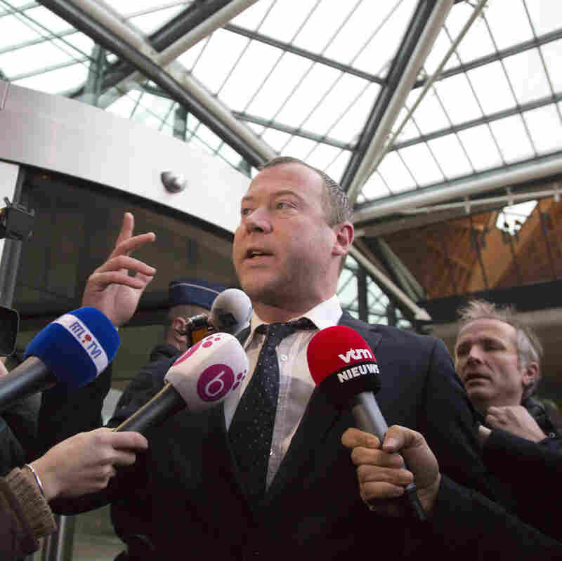 Dimitri Bontinck spoke with  the press at Antwerp's main courthouse in February, when his son Jejoen was among those on trial for taking part in a terrorist organization that allegedly recruited fighters for jihadi groups in Syria.