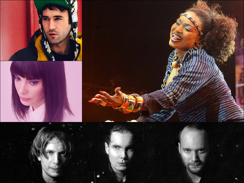 Clockwise from upper left: Sufjan Stevens, Oumou Sangare, Sigur Ros, Alejandra Deheza of School For Seven Bells