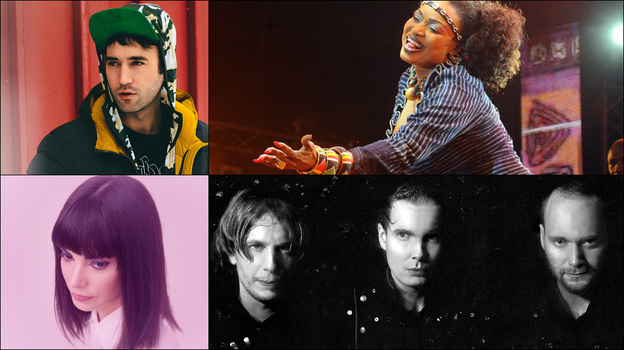 Clockwise from upper left: Sufjan Stevens, Oumou Sangare, Sigur Ros, Alejandra Deheza of School For Seven Bells (Courtesy of the artists)