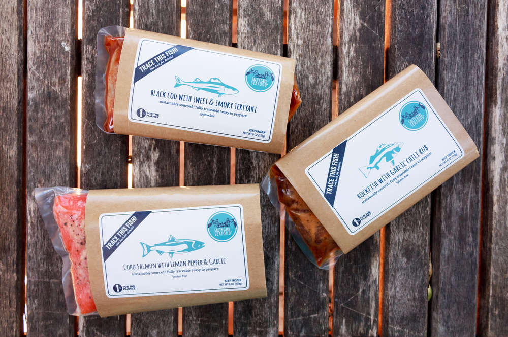Packaging for some of Salty Girl's marinated, ready-to-cook fish. The company sources its fish directly from California fishermen. Customers can go online to find out more about where their fish came from, who caught it and how, and other sustainability issues.