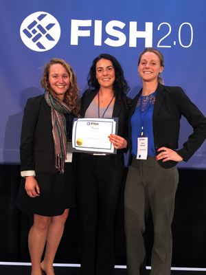 The Salty Girl Seafood team won $5,000 in prize money at the Fish 2.0 competition. They are (from left) Gina Auriemma, who handles marketing for the firm, and co-founders Norah Eddy and Laura Johnson.