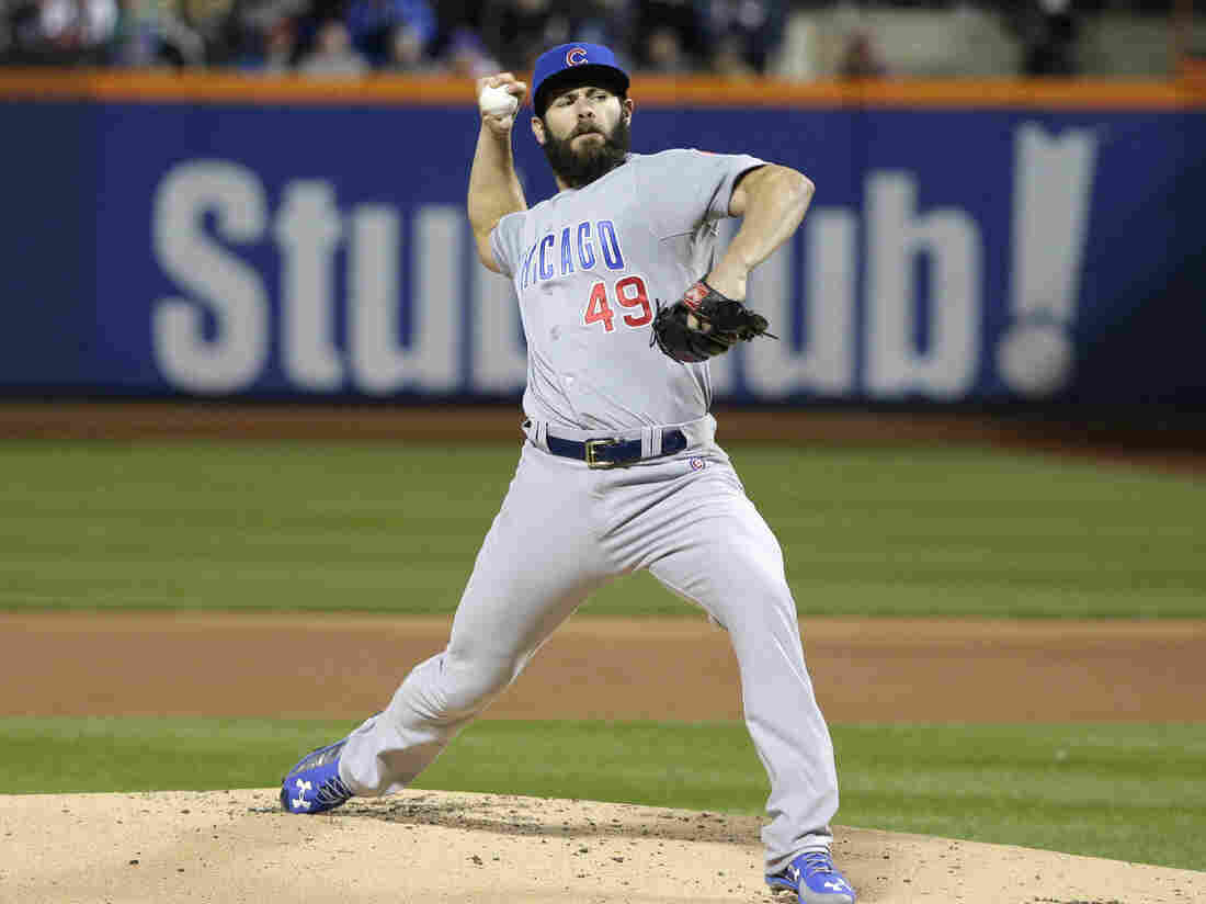 Chicago Cubs pitcher Jake Arrieta throws during the first inning of Game 2 of the National League Championship Series against the New York Mets on Oct. 18 in New York.