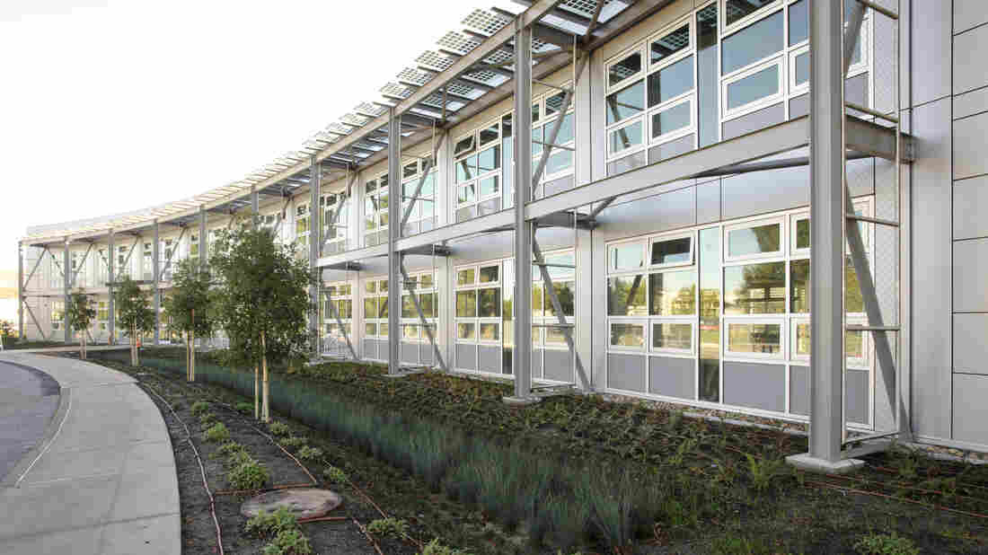A building called Sustainability Base, at NASA's Ames Research Center in Mountain View, Calif., has an energy-efficient design that allows in sunlight. So for most of the year, the interior is illuminated by natural light.