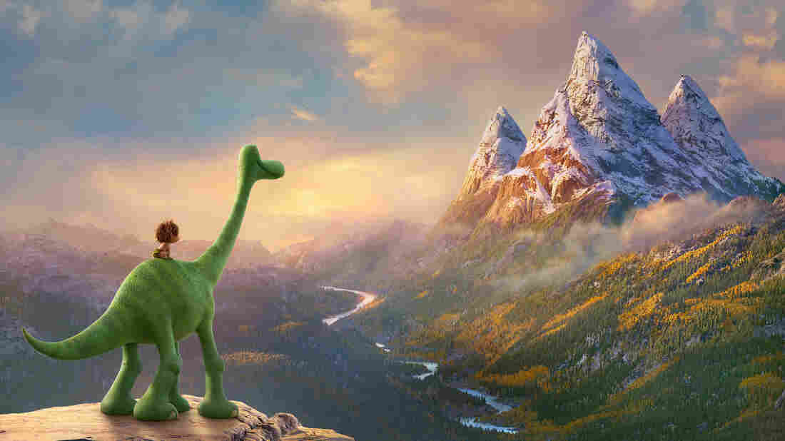 Arlo the dinosaur befriends Spot, a feral boy, on his journey to find his way home in The Good Dinosaur.