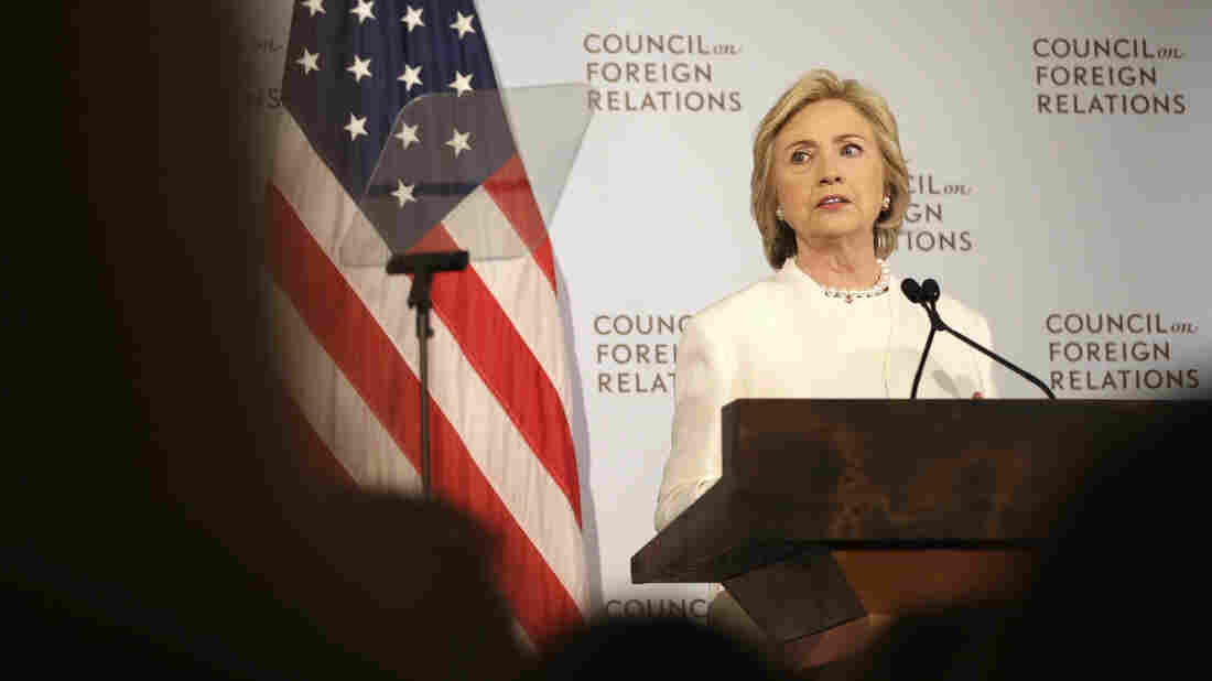 Hillary Clinton speaks about her plan to fight the Islamic State militant group at the Council on Foreign Relations in New York.