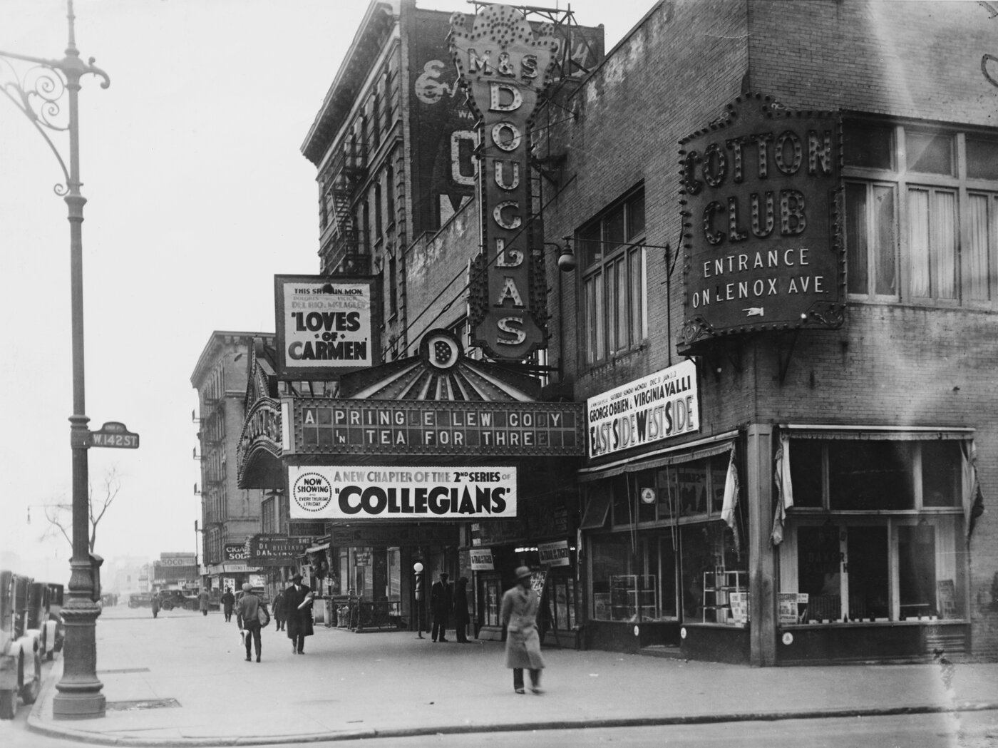 142nd Street and Lenox Avenue in Harlem, New York City, circa 1927.