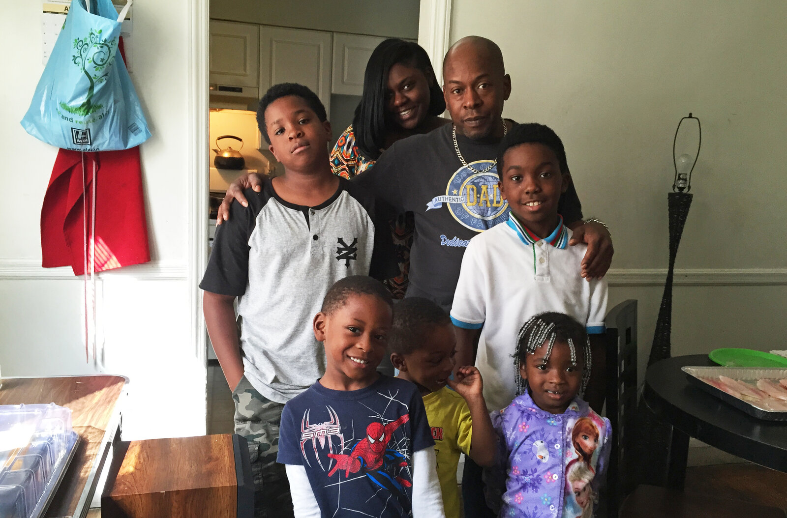 Harrelle Felipa with five of his children and a granddaughter. (Jennifer Ludden/NPR)