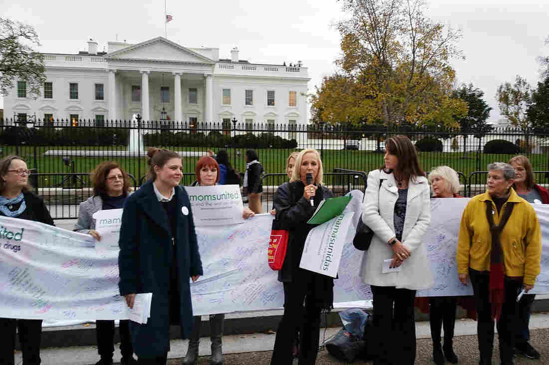 Gretchen Burns-Bergman (center) speaks Wednesday at a rally in front of the White House about ending mass incarceration of drug users.