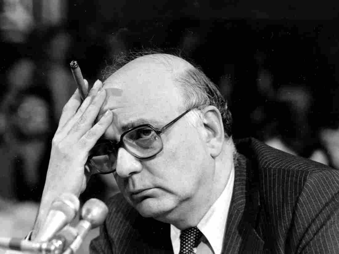 Federal Reserve Board Chairman Paul Volcker listens to a question as he appears before the Senate Banking Committee.