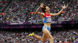 Russia's Mariya Savinova won gold in the 800-meter final at the 2012 Olympics in London. A new report ruled that she should never should have competed because her drug test profile showed she was doping.