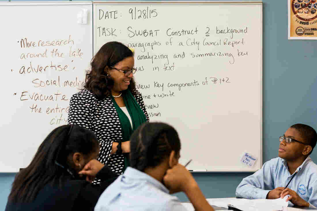 Melissa Jarvis-Cedeño, principal at Ascend Charter High School, teaches a civic reflections seminar three times a week.