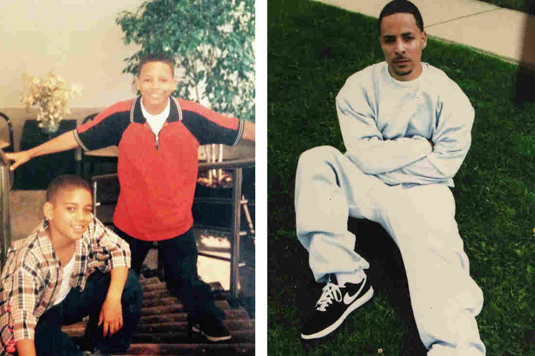Left: Jarvis-Cedeño's two sons as boys: Josef Jarvis, standing, is now incarcerated. Elijah Cedeño is in a master's program. Right: Josef Jarvis, permitted to wear civilian clothes for a family visit at the maximum-security federal prison in Allenwood, Penn., is scheduled for release next year.