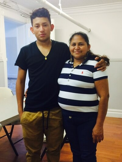 Henry Gomez with his mother, Rosa. (Alexandra Starr/NPR)