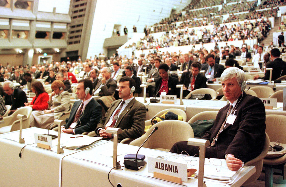 Delegates from about 170 countries gathered in Kyoto in December 1997 during the United Nations Framework Convention on Climate Change. This year in Paris, the stakes are even higher, negotiators say. (AFP/Getty Images)