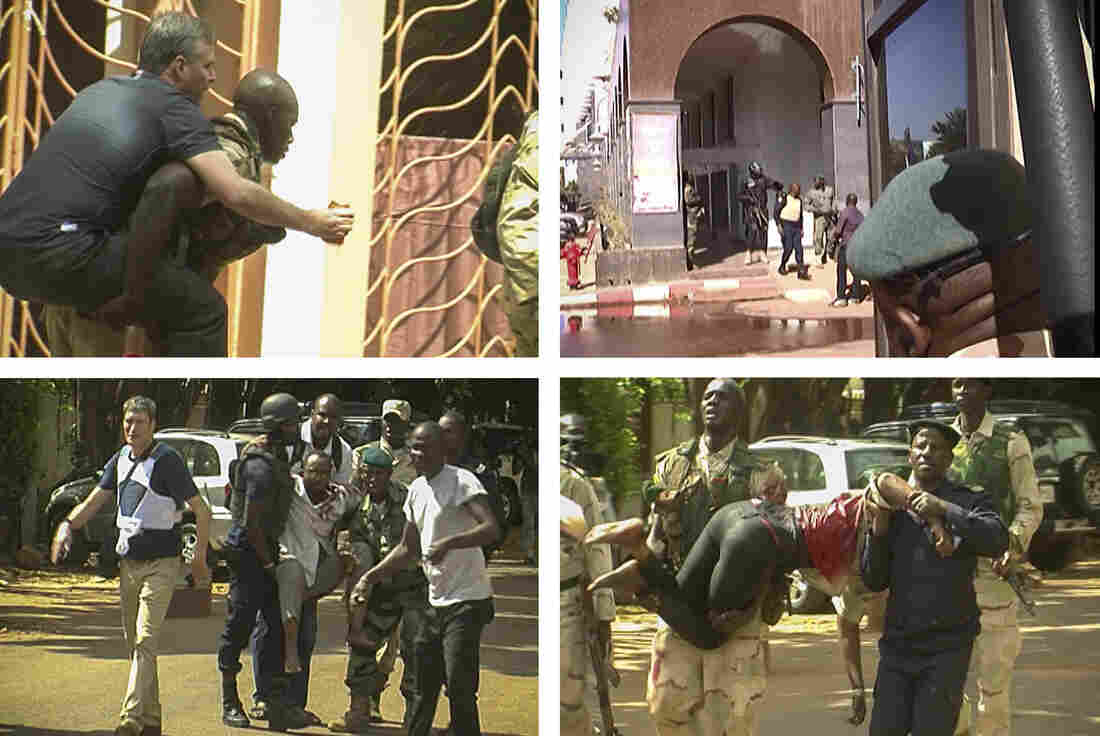 Scenes from local television show the area of Mali's capital where hostages were being rescued and taken to safety.