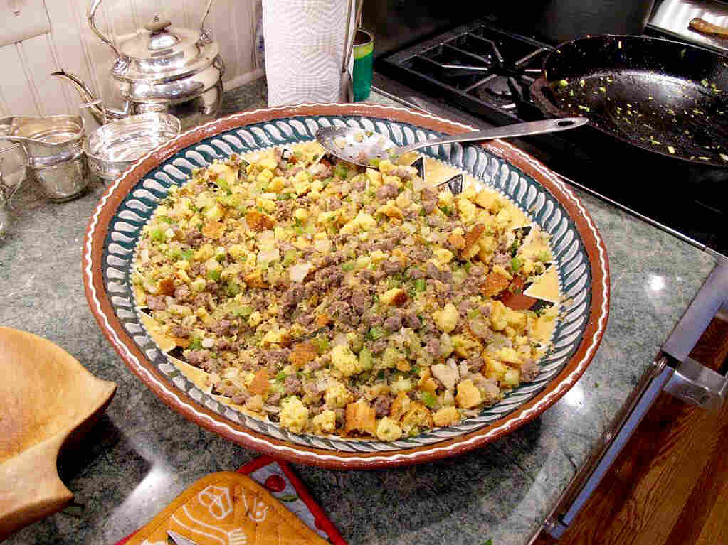 Stephanie Deutsch's mother hailed from Long Island where she grew up eating oyster stuffing. Her father was from Texas and loved this cornbread stuffing, which the family continues to make.
