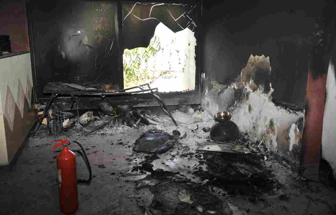 A photo shows a scorched hotel room in the Radisson Blu in Bamako, Mali, Saturday, one day after a deadly jihadist siege at the luxury hotel.