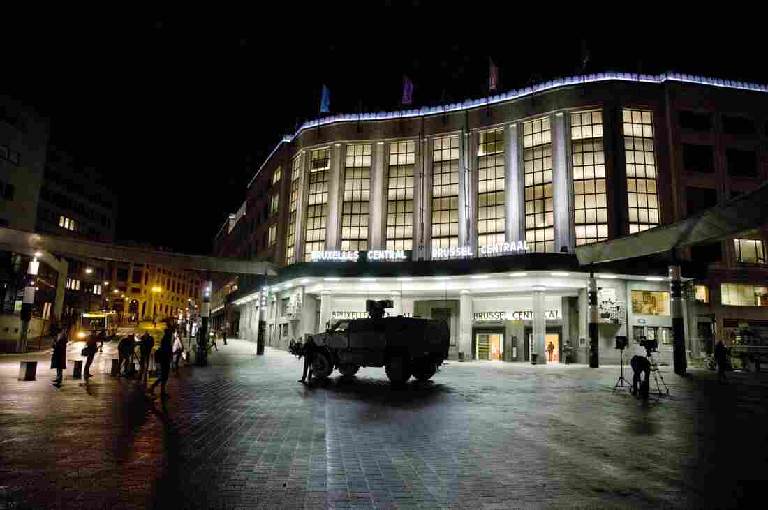 A Belgian Army vehicle is parked in front of the main train station in the center of Brussels on Saturday.