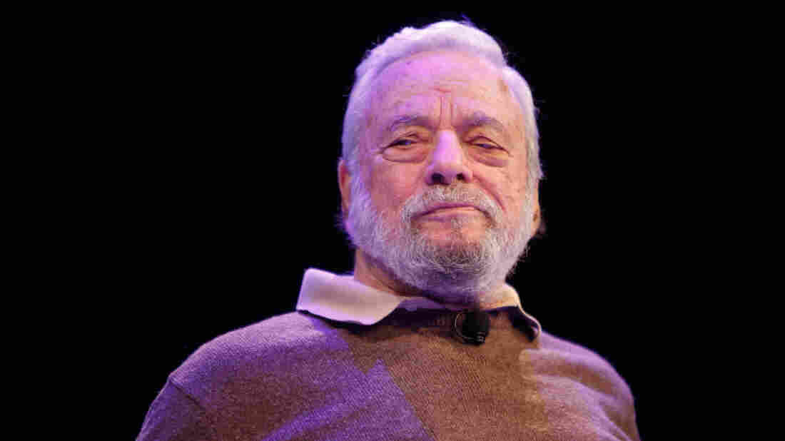 Stephen Sondheim talks with Adam Gopnik during the New Yorker Festival in October 2014, in New York City.