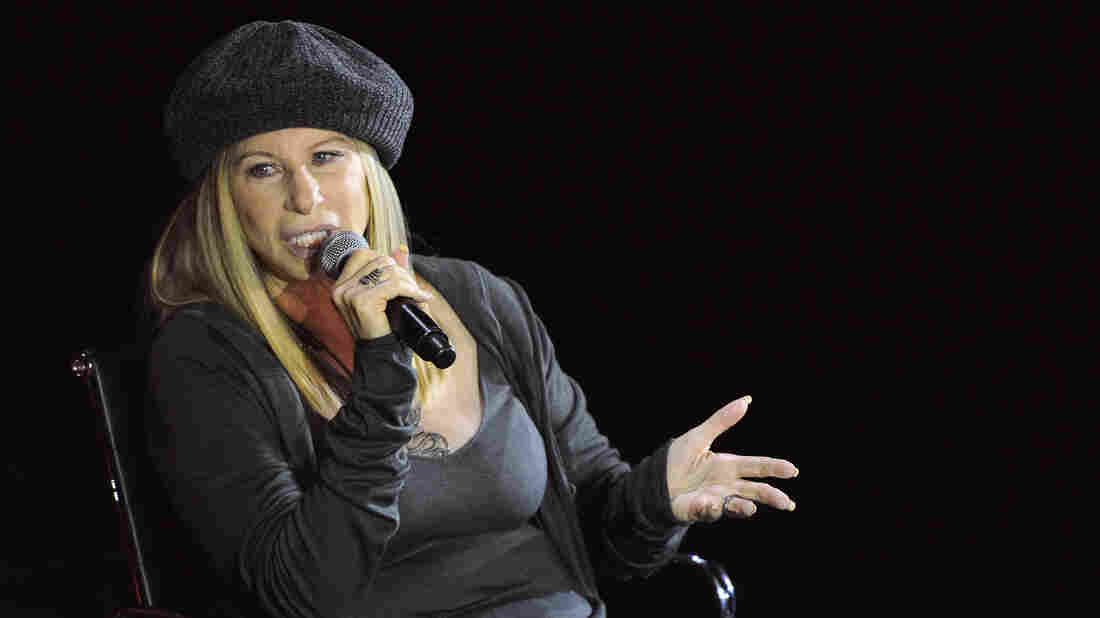 Barbra Streisand speaks on stage during the Women in the World Summit held in New York City, in April 2015.