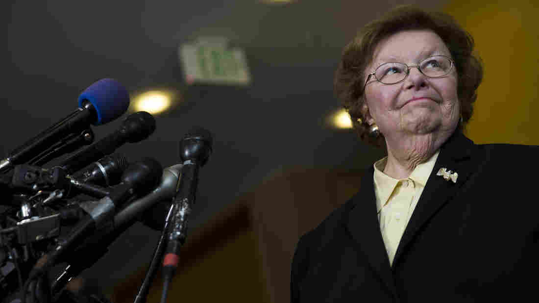 Sen. Barbara Mikulski, D-Md., speaks to the media in May 2015, in Baltimore.