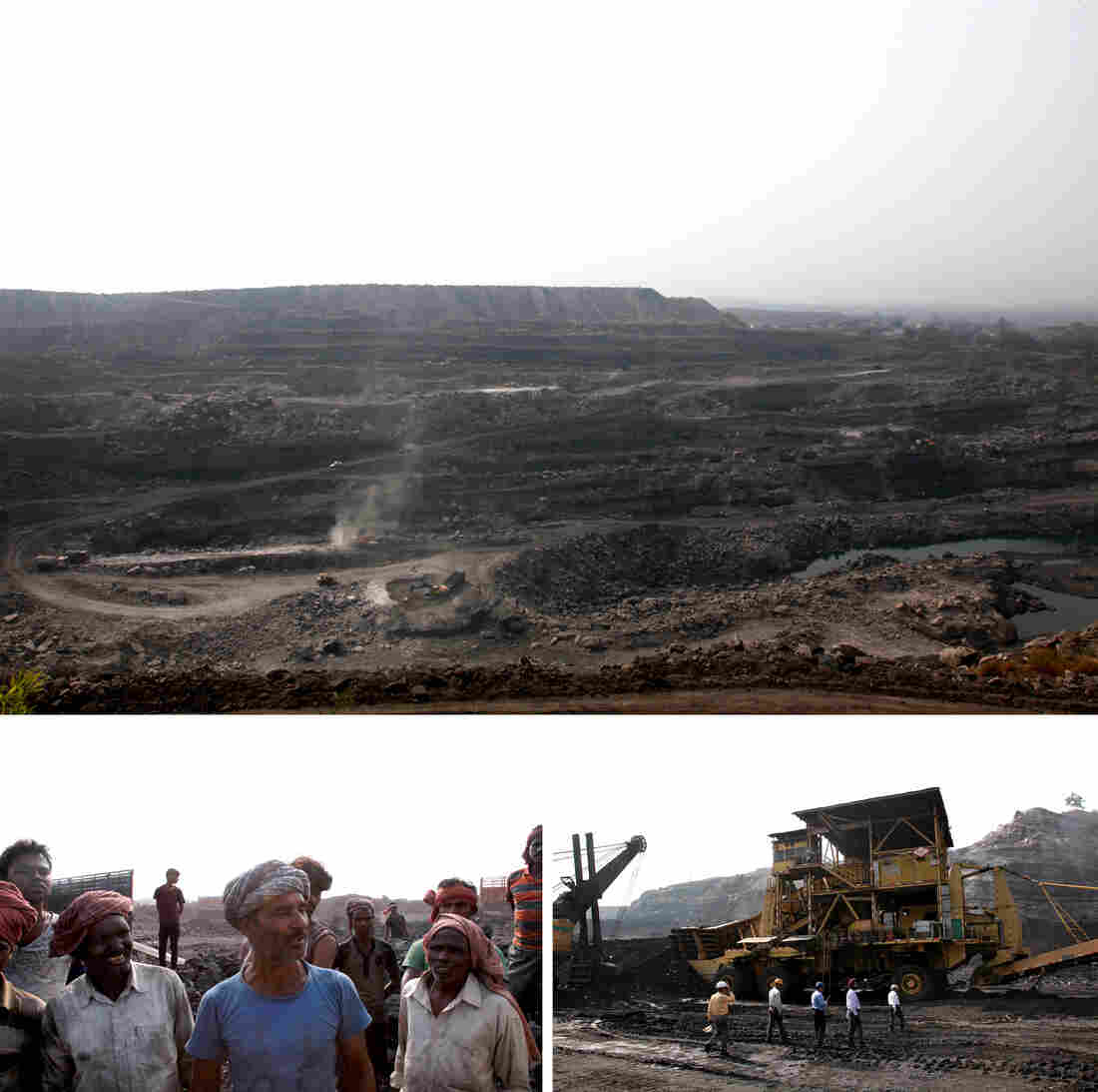 Indian law requires mines to reforest twice the land denuded by surface mining, top. Loaders, bottom left, are employed to lift heavy chunks of coal onto trucks, dangerous work that exposes many to toxins. At right, employees of Central Coalfields, Ltd., stand near an in-pit crusher used in open cast mining. Open pits cost a third of underground mining, but cause more damage to the environment.