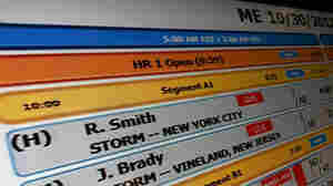 The rundown board, like this Morning Edition one shown during Hurricane Sandy, displays the schedule of segments which make up each NPR show. When big news breaks, the planned rundown may be changed completely.