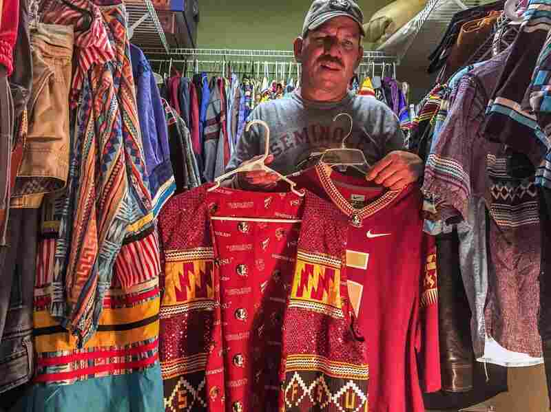 "Skeeter Bowers's closet is stuffed with handmade patchwork attire, including variations on FSU's garnet-and-gold colors. The Nike-made Seminoles football jersey features (with permission by the tribe) symbols for Man on Horse, Arrow, and Fire, alluding to the ""Tradition of Tribute"" when, before each game, ""Osceola"" throws a flaming lance toward the 50-yard line while on horseback."