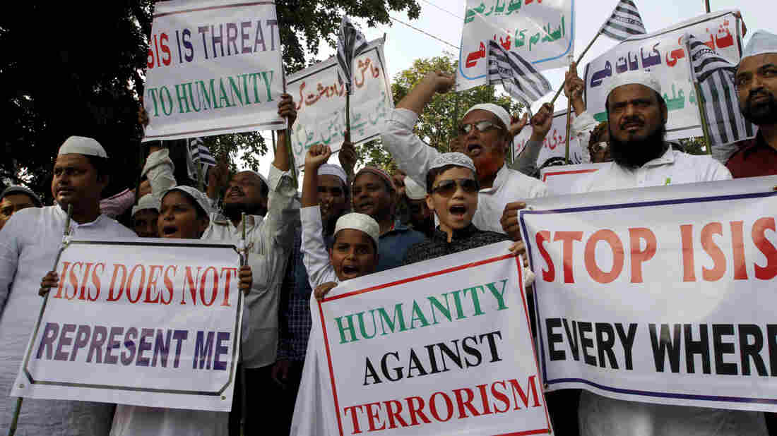 Muslims in India protest against ISIS following the Nov. 13 terrorist attacks in Paris.