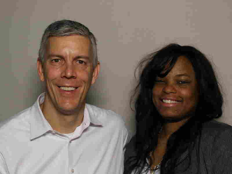 Arne Duncan with Lawanda Crayton, whom he mentored when she was a child in Chicago.
