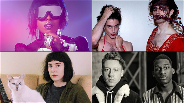Clockwise from upper left: Missy Elliott, PWR BTTM, Macklemore and Leon Bridges, kristine leschper of the band Mothers. (Courtesy of the artists)