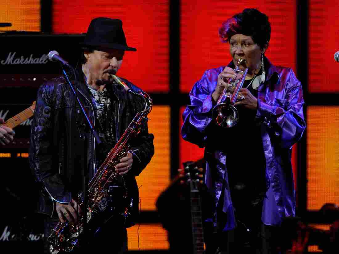 Jerry Martini and Cynthia Robinson from The Family Stone performing in 2011. Robinson died Monday at age 69.