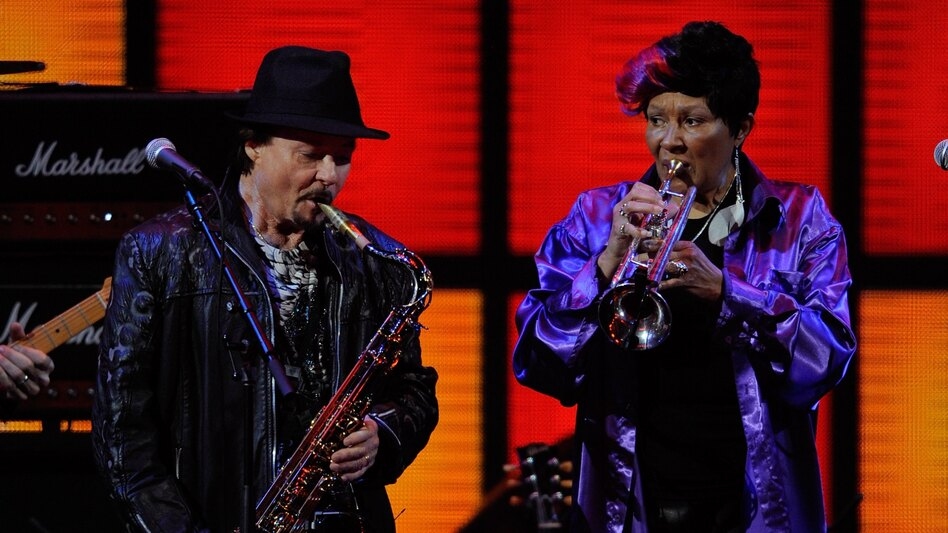 Jerry Martini and Cynthia Robinson from The Family Stone performing in 2011. Robinson died Monday at age 69. (Getty Images)