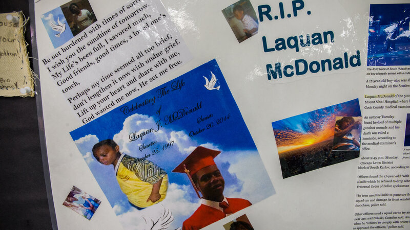 A memorial to Laquan McDonald, 17, and other victims of violence is seen in April at the Sullivan House Alternative High School in Chicago. McDonald was shot 16 times by Chicago police Officer Jason Van Dyke in October 2014.