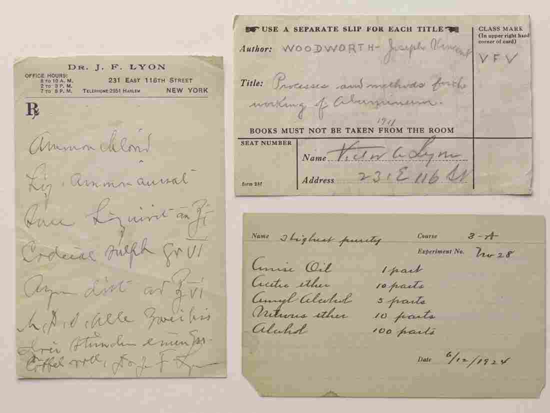 Prescription and call slips found in Victor Alfred Lyon's book.