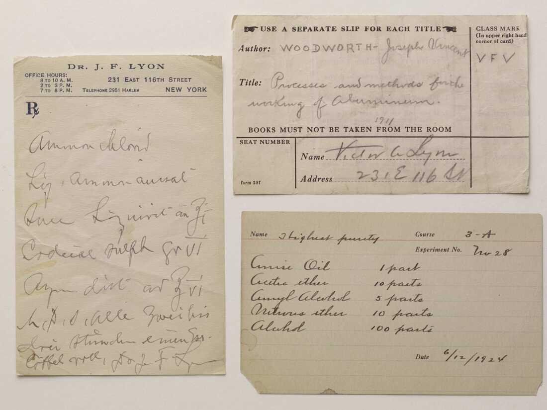 Prescription and call slips found in Victor Alfred Lyon's book.
