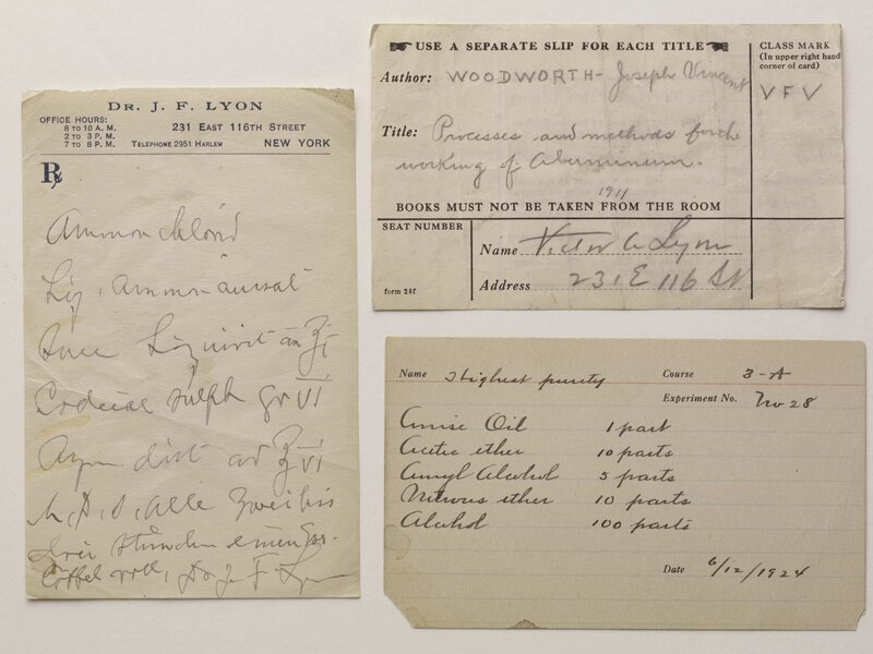 Prescription and call slips found in Victor Alfred Lyon's book. (John Schulz/John Schulz Photography)