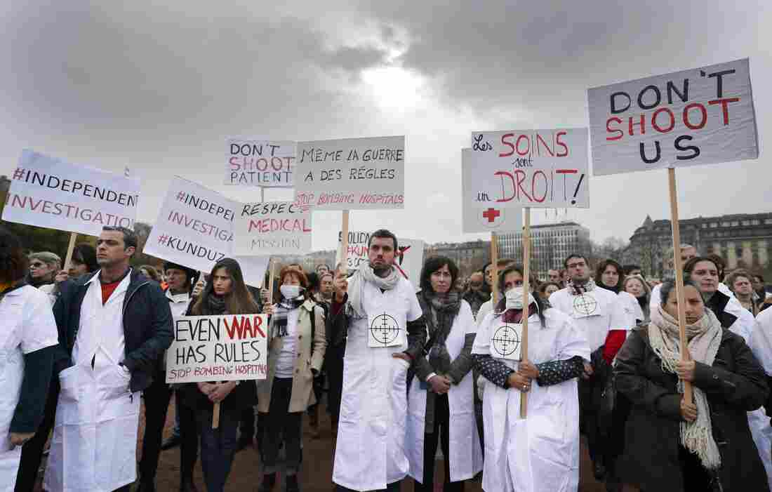 Members of Doctors Without Borders demonstrated in Geneva, after U.S. forces bombed the organization's hospital in the northern Afghanistan city of Kunduz.