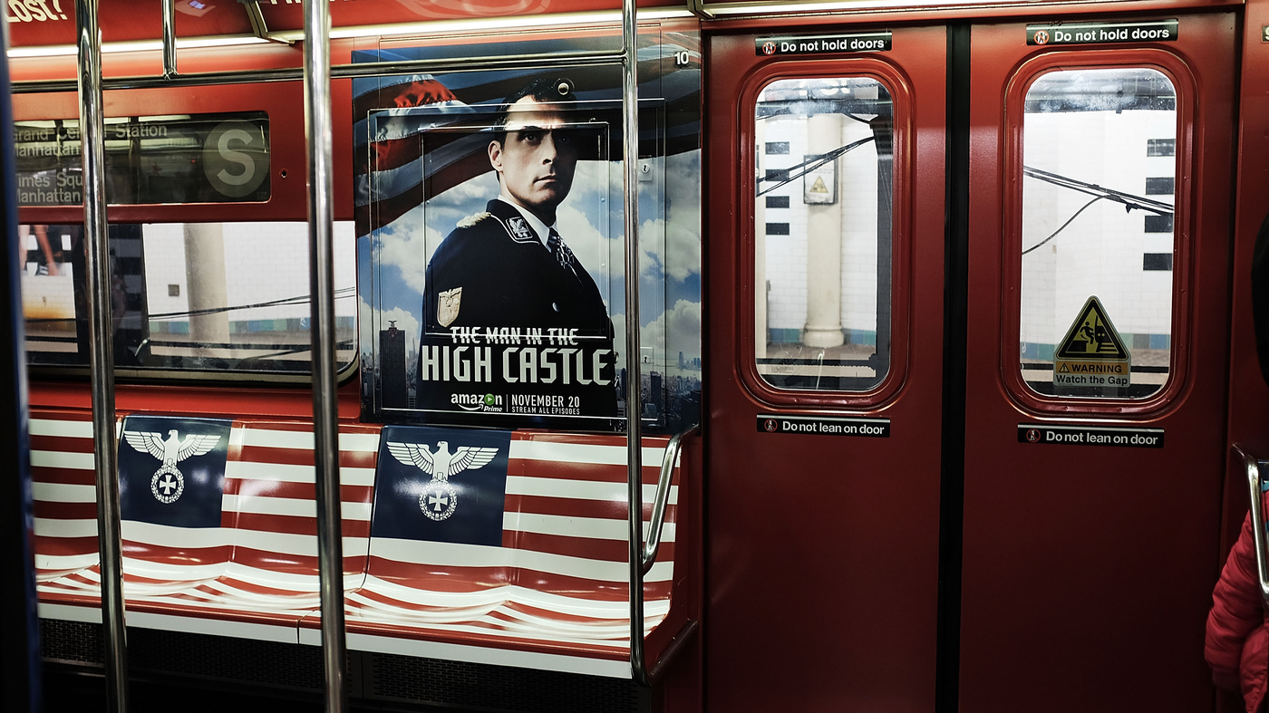 New york subway pulls nazi themed ads for new show man in the new york subway pulls nazi themed ads for new show man in the high castle the two way npr biocorpaavc Gallery