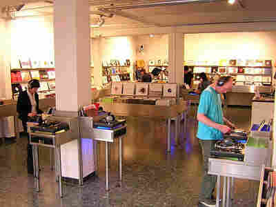 Inside the Kompakt Records store in Cologne.