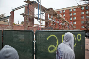 A building is now under construction at the intersection of Pennsylvania and West North avenues where a CVS Pharmacy was destroyed in the riots. (Jun Tsuboike/NPR)