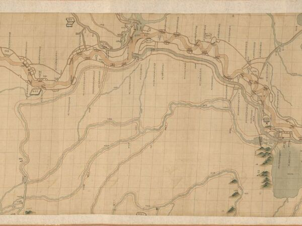 Map exploring the world hardcover watermark books caf this scroll map of chinas yellow river was made around 1750 gumiabroncs Choice Image