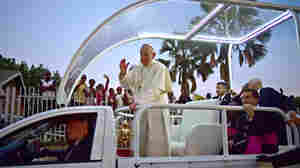 Pope Francis arrives at Lubaga Cathedral in Kampala during the Ugandan stage of his trip.
