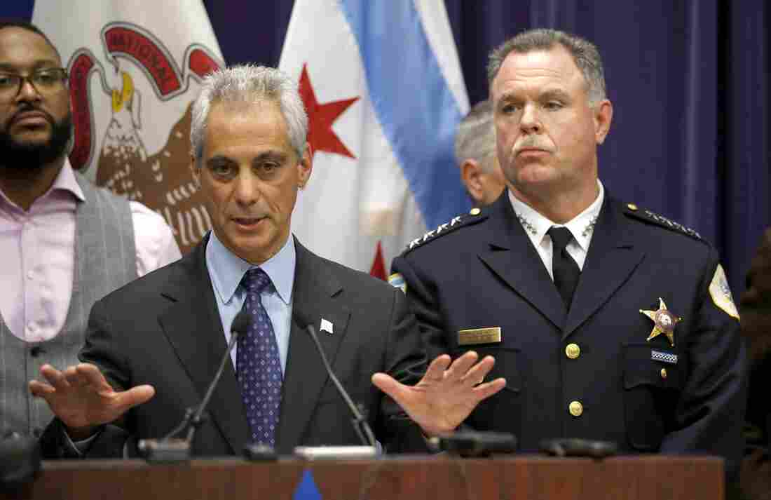Chicago Mayor Rahm Emanuel and Police Superintendent Garry McCarthy appear at a news conference on Tuesday in Chicago.
