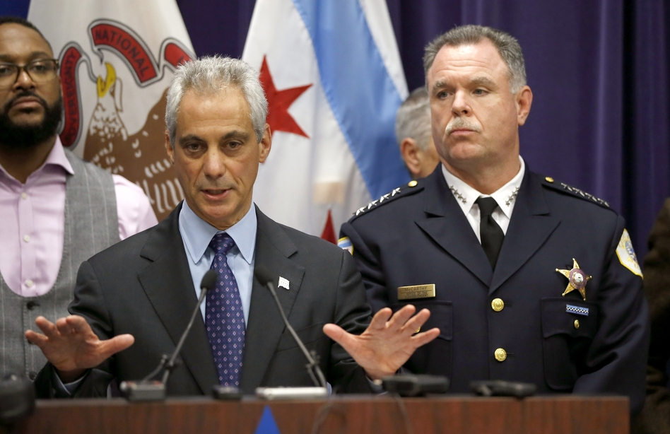 Chicago Mayor Rahm Emanuel and Police Superintendent Garry McCarthy appear at a news conference on Tuesday. (Charles Rex Arbogast/AP)