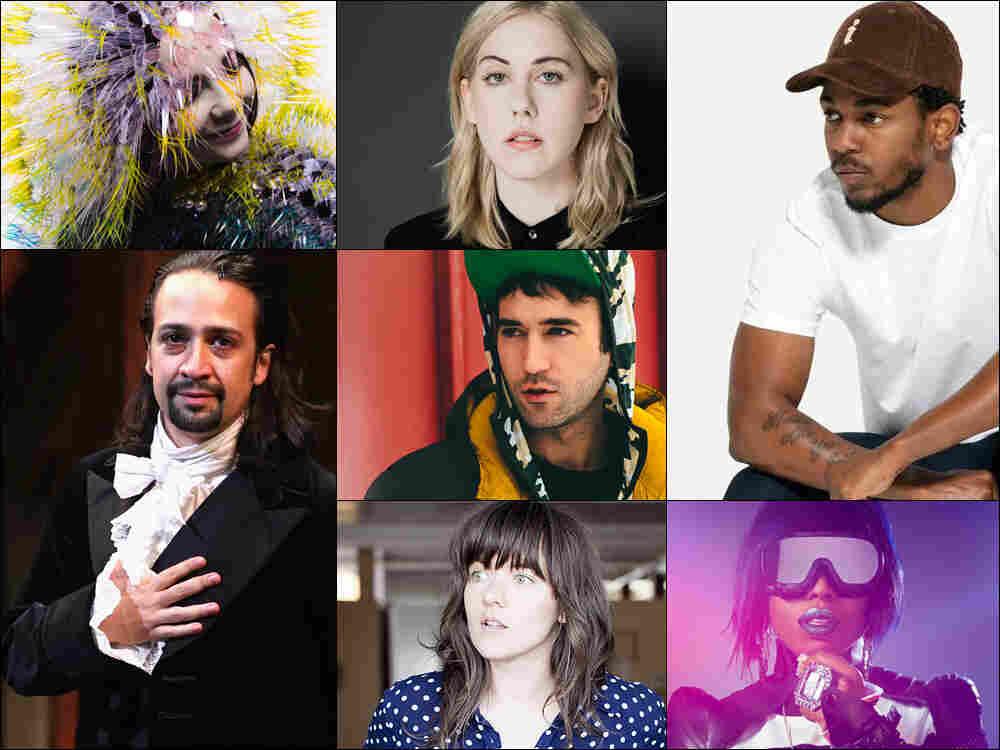 Clockwise from upper left: Bjork, Torres, Kendrick Lamar, Missy Elliott, Courtney Barnett, Lin-Manuel Miranda in the Hamilton musical, Sufjan Stevens